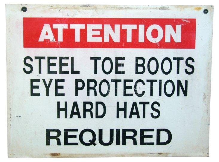 1950s Metal Construction Hard Hat Sign