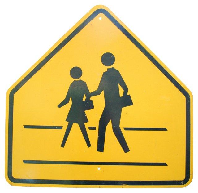 1970s Metal       Crosswalk Sign