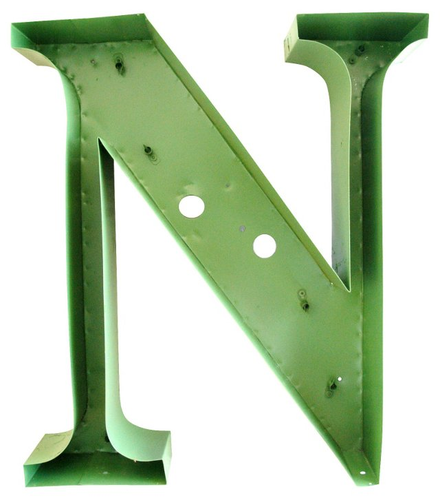 1970s Mossy-Green Metal Marquee Letter N