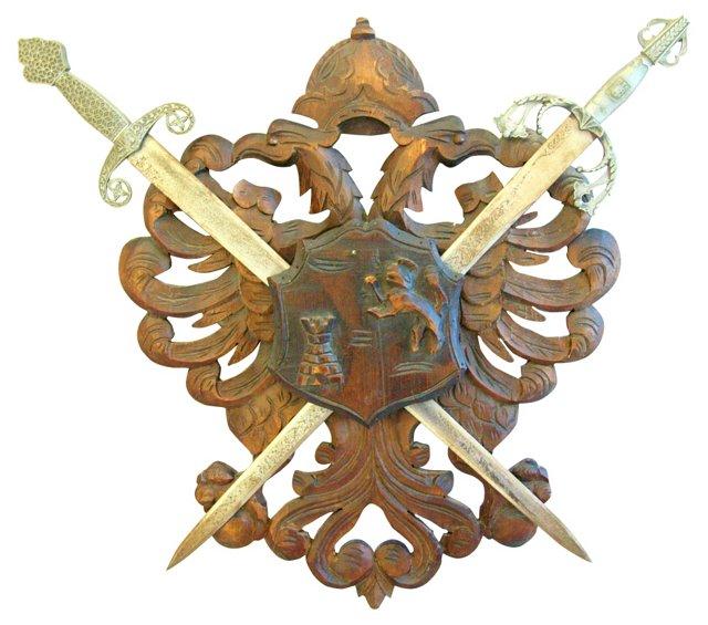 Carved Heraldic Family Crest w/ Swords