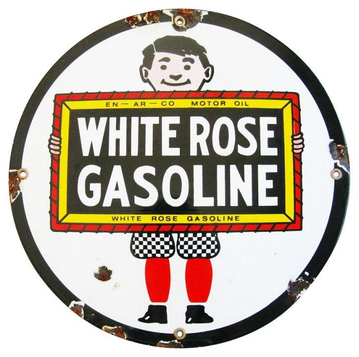 Porcelain White Rose Gasoline Sign