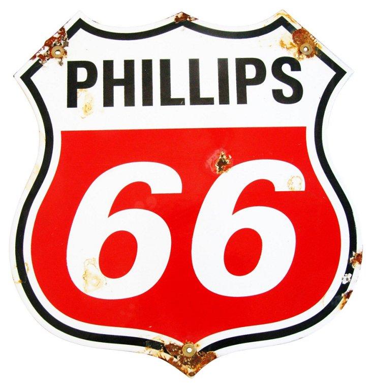 Porcelain Phillips 66 Gas Sign