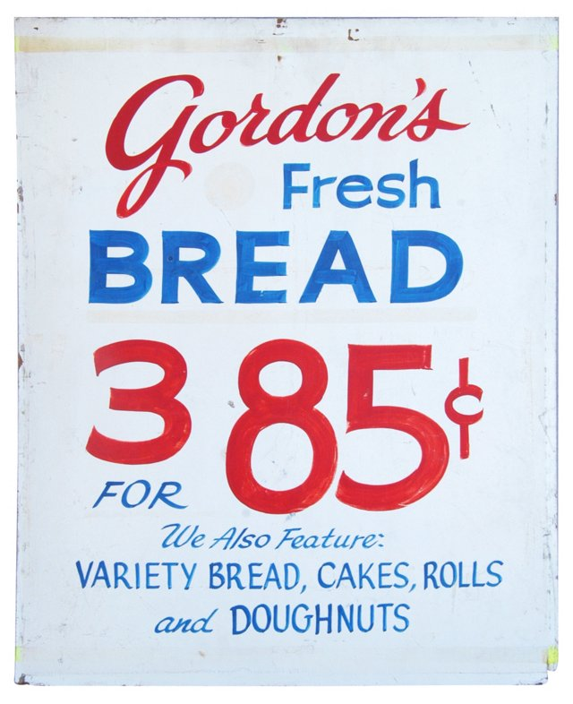 1960s Hand-Painted Gordon's Bakery Sign