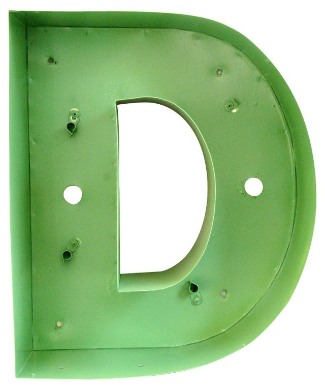 Sage Green Metal Marquee Letter D