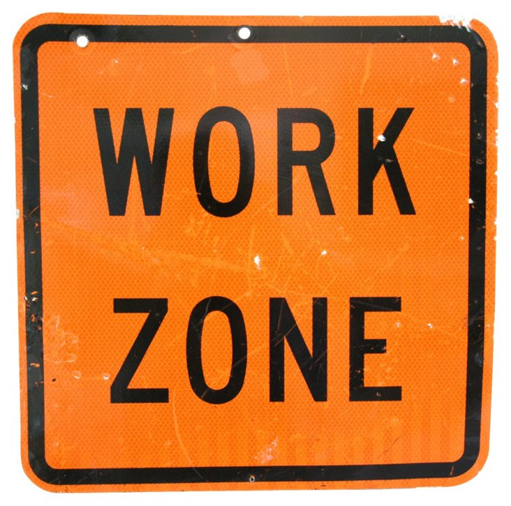 Metal Work Zone Sign