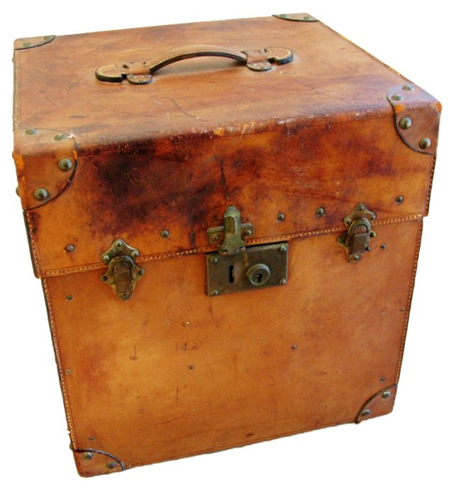 19th-C. Leather & Brass Traveling Trunk