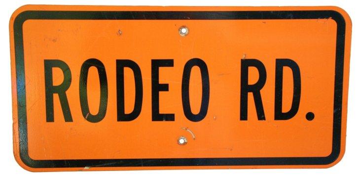 Metal Rodeo Road Street Sign