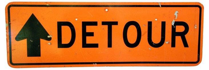 Metal Detour Arrow Street Sign