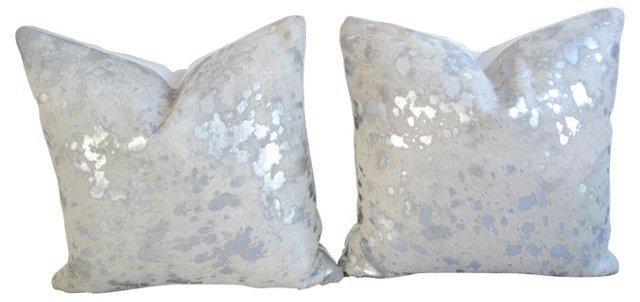 Metallic  Silver   Cowhide Pillows, Pair