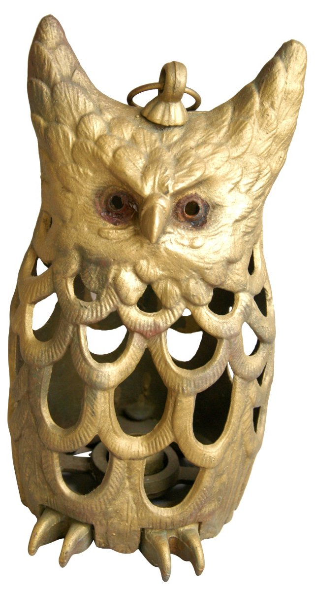 1950s Cast Iron Owl Lantern