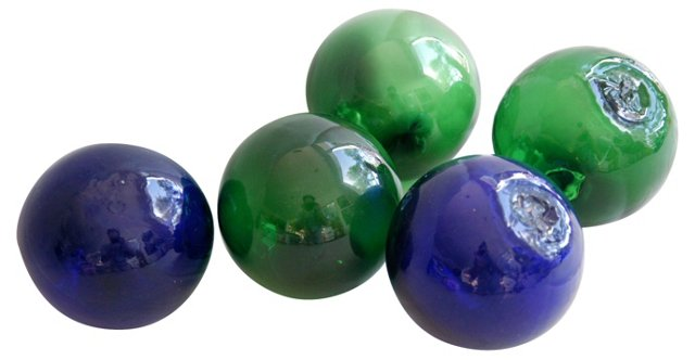 Hand-Blown     Glass Fishing Floats, S/5