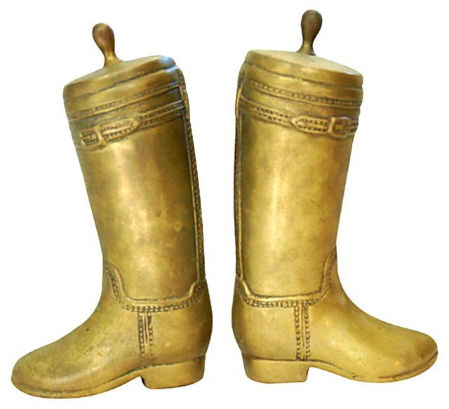 1950s Brass Riding-Boot Bookends