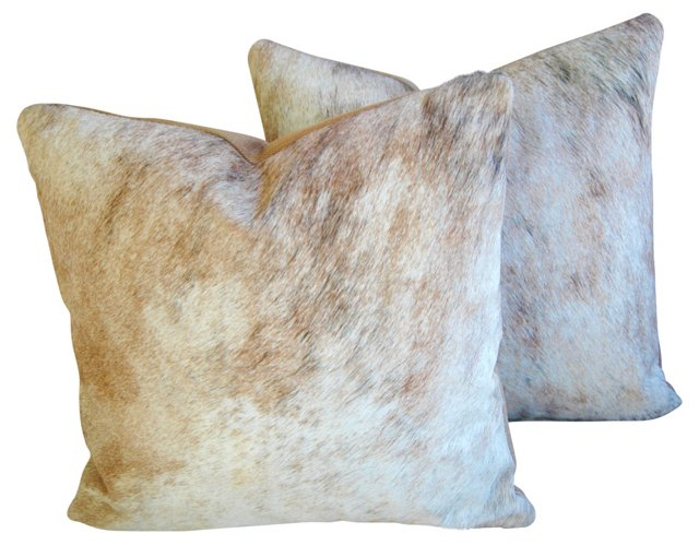 Brindle-Tan    Cowhide Pillows, S/2