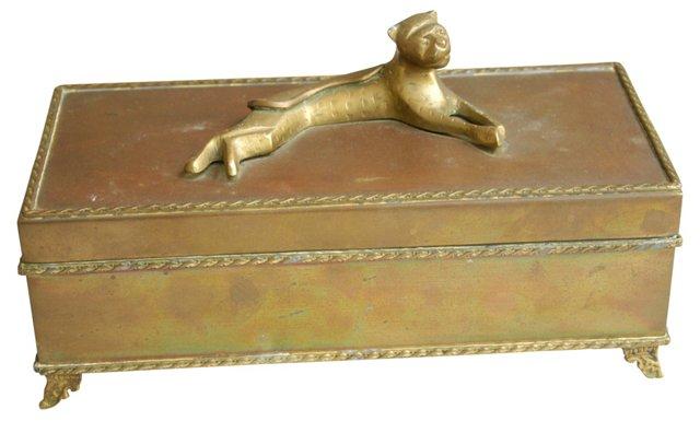 1960s Brass Leopard Box