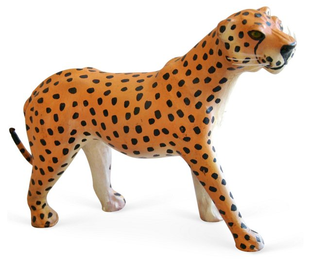1970s Hand-Painted     Leather Cheetah