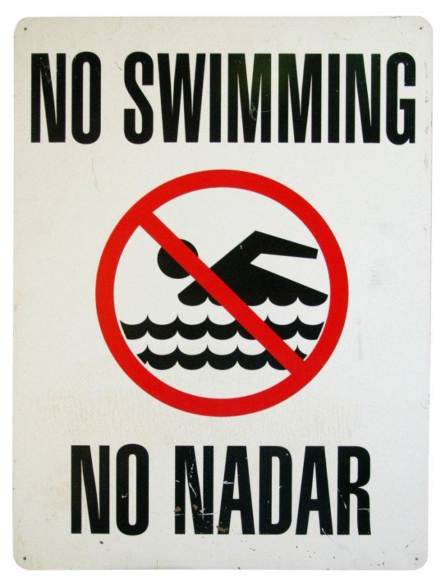 1980s No Swimming Sign