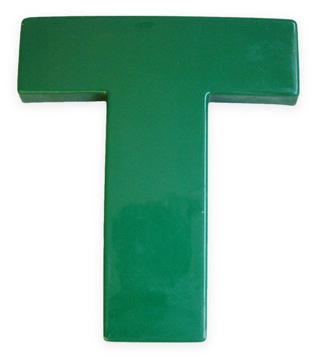 1970s Hunter    Green Marquee Letter T