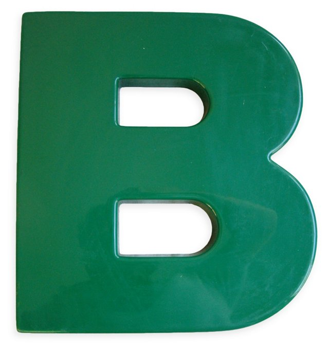 1970s Hunter Green Marquee Letter B