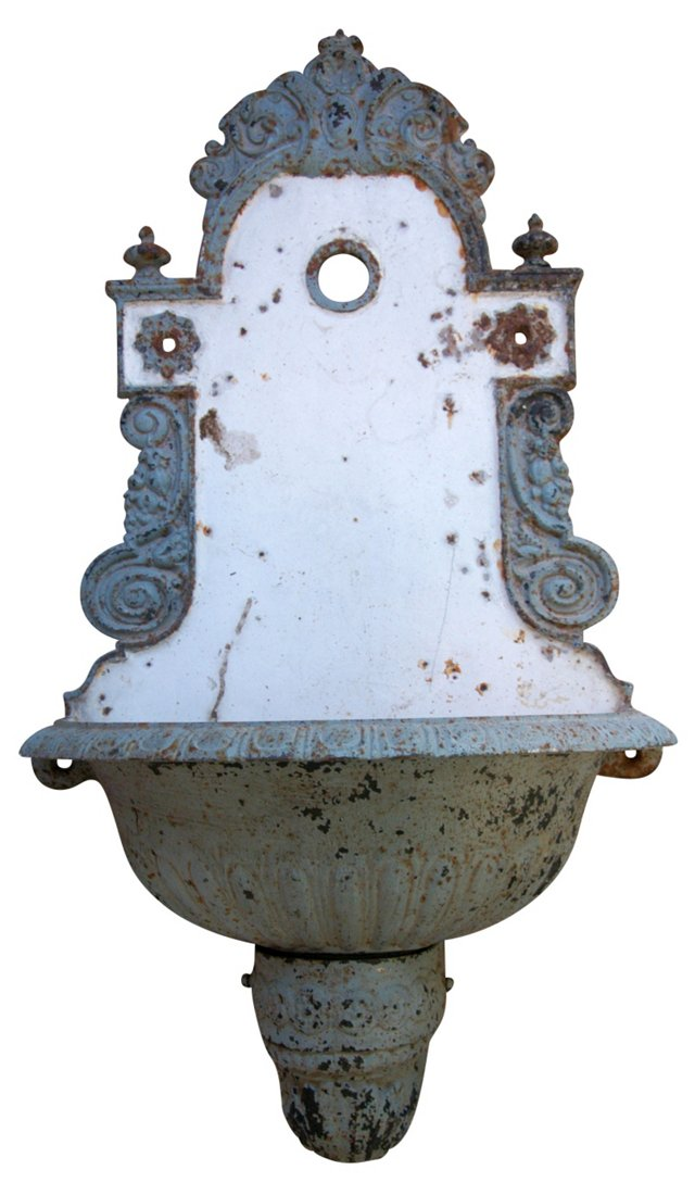 Antique French Iron & Porcelain Lavabo
