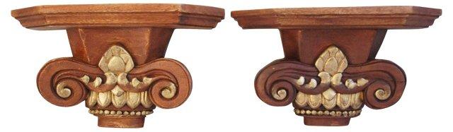 Carved Wood  Bracket Shelves, Pair