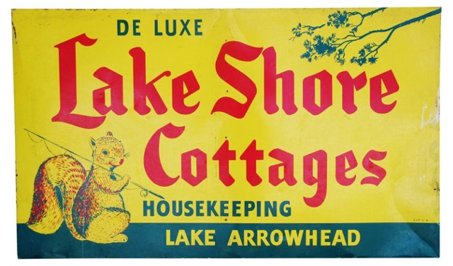 1940s Metal Lake Arrowhead Cottages Sign
