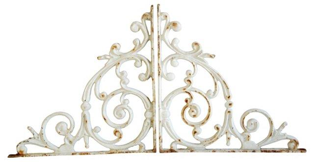 Ornate Cast Iron Brackets, Pair