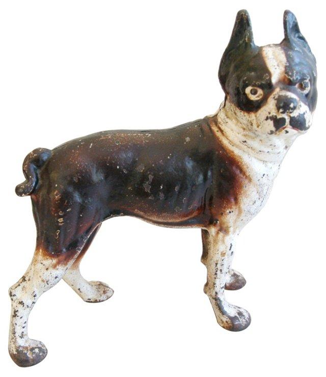 1940s Cast Iron Boston Terrier Doorstop