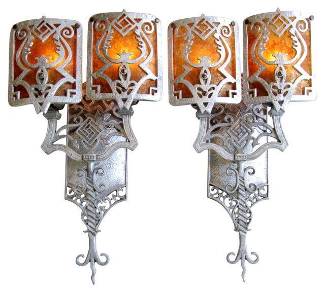 1930s Sconces w/  Mica Shades