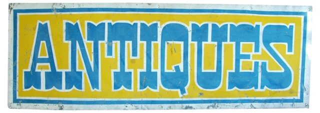 1950s Hand-Painted Metal Antiques Sign