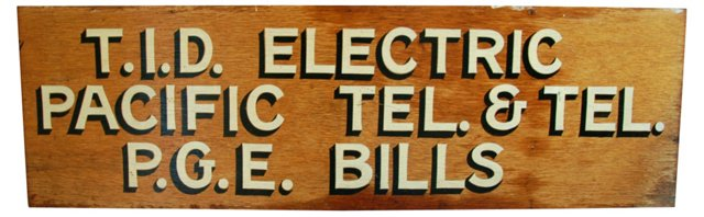 1950s Hand-Painted Utility Billing  Sign