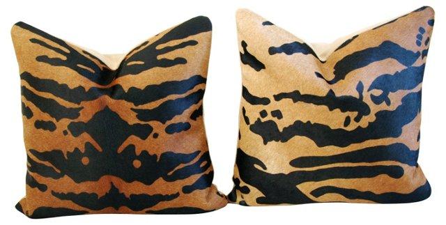 Tiger-Stripe   Cowhide Pillows, Pair
