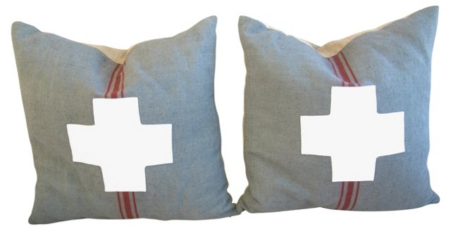French Overdyed Grain Sack  Pillows, S/2
