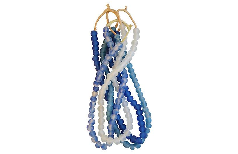 Blue/Aqua/Ice Sea Glass Beads, S/4
