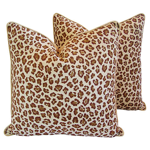 Safari Leopard Velvet Pillows, Pair