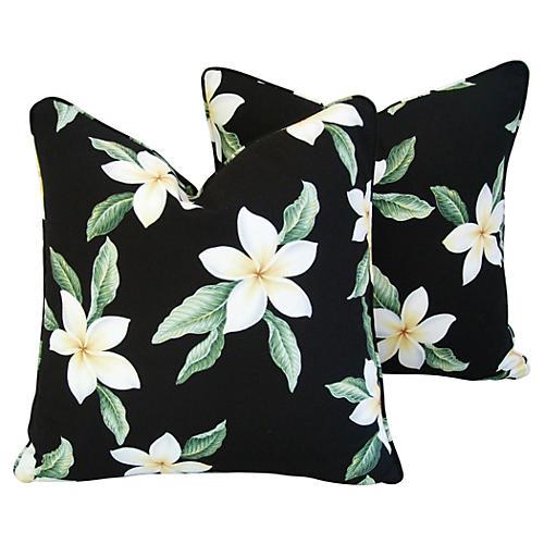 Tropical Blossom Barkcloth Pillows, Pair