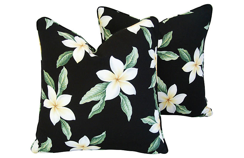 Tropical Blossom Barkcloth Pillows, Pair