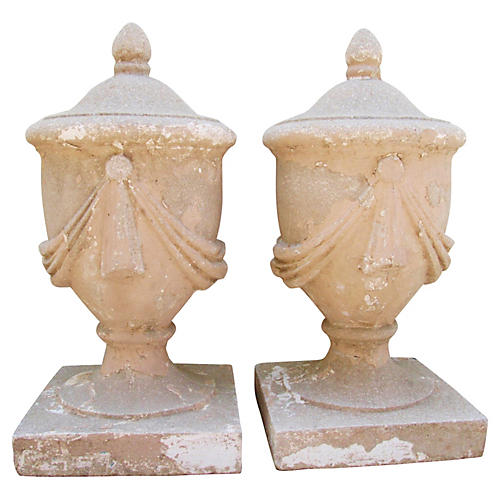 Estate Concrete Garden Finials, S/2