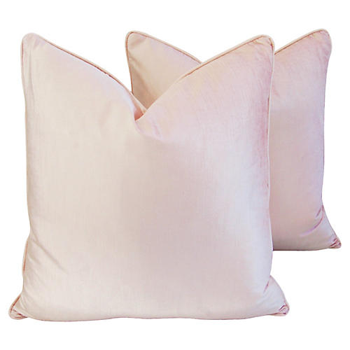 Pale Pink Chablis Velvet Pillows, Pair