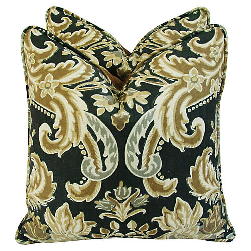 Old World Tuscany Linen Pillows, Pair