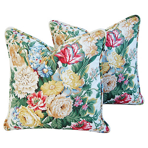 English Floral Bouquet Pillows, Pair