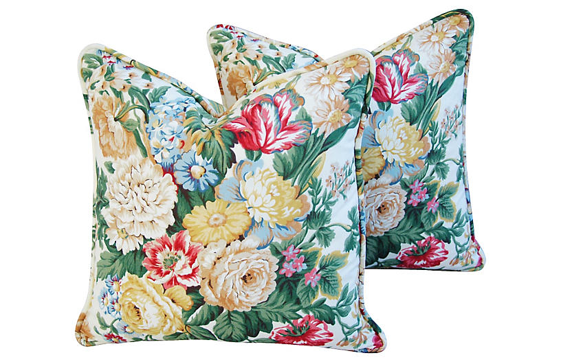 English Floral Bouquet Pillows, Pair