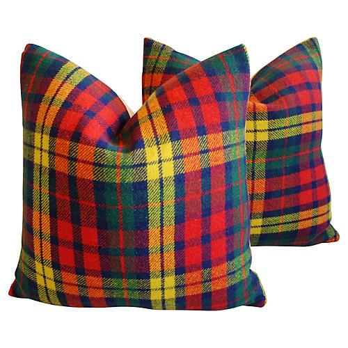 Scottish Tartan Plaid Wool Pillows, Pr