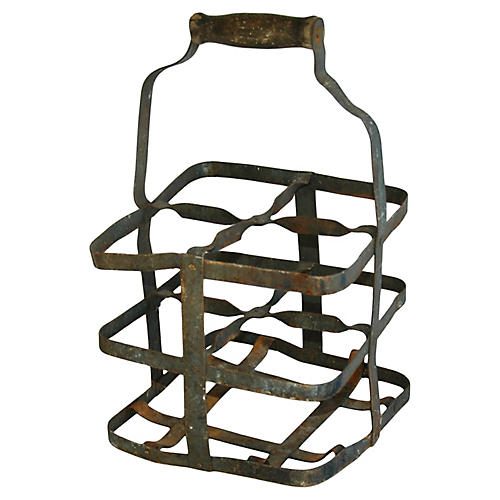 1930s French Metal 4-Bottle Carrier