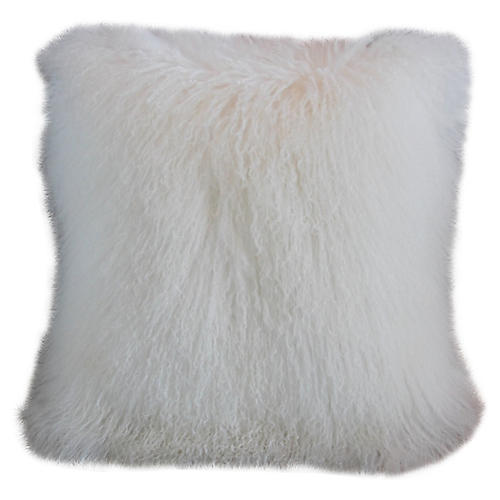 White Tibetan Lambswool & Velvet Pillow