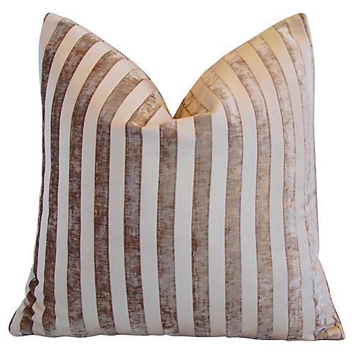 French Fawn/Cream Velvet Striped Pillow