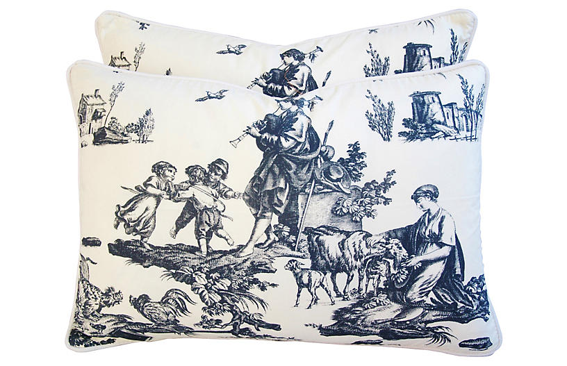 Romantic French Toile Pillows, Pair