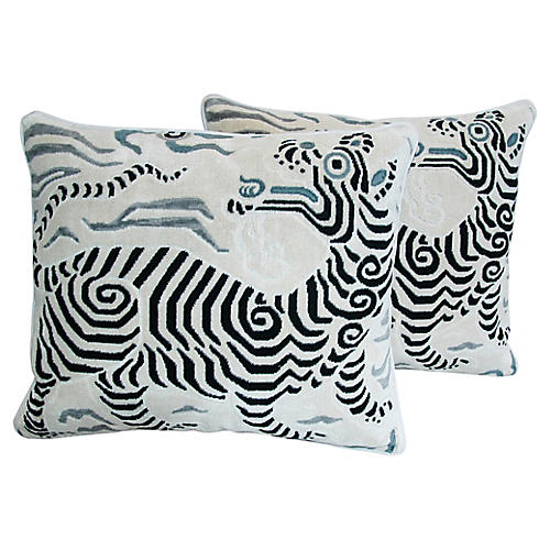 Clarence House Dragon Fabric Pillows, Pr