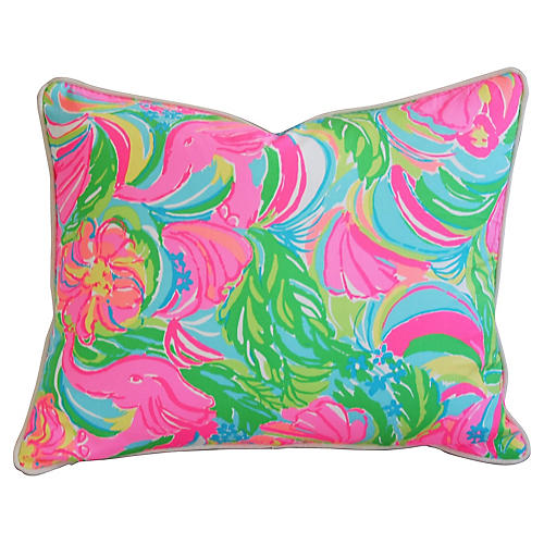 Tropical Monkeys & Elephants Pillow