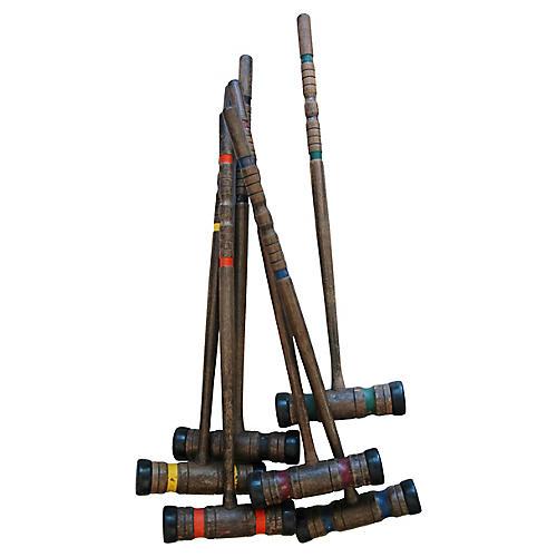 Large Wood Croquet Mallets, S/6