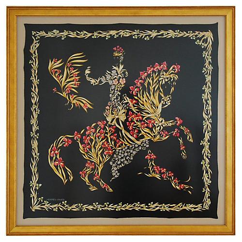 Framed Hermès Floral Horse Scarf